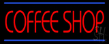 Red Coffee Shop Blue Lines LED Neon Sign