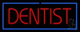 Red Dentist Blue Border LED Neon Sign