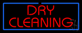 Red Dry Cleaning Blue Border LED Neon Sign