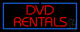 Red DVD Rentals Blue Border LED Neon Sign