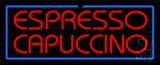Red Espresso Cappuccino with Blue Border LED Neon Sign