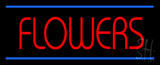 Red Flowers Blue Lines Neon Sign
