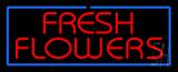 Red Fresh Flowers Blue Border Neon Sign