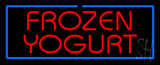 Red Frozen Yogurt with Blue Border LED Neon Sign