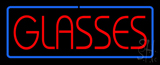 Red Glasses Blue Border Neon Sign