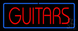 Guitars Block Blue Border LED Neon Sign