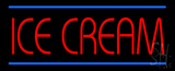 Red Ice Cream with Blue Lines LED Neon Sign