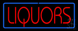 Red Liquors Blue Border LED Neon Sign