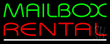 Mailbox Rental White Line LED Neon Sign