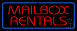 Red Mailbox Rentals Blue Border Neon Sign