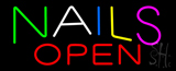 Multi Colored Nails Open Neon Sign
