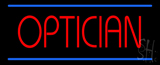 Red Optician Blue Lines Neon Sign