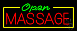 Green Open Red Massage Yellow Border Neon Sign