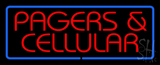 Red Pagers and Cellular Blue Border LED Neon Sign