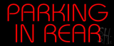 Red Parking In Rear LED Neon Sign