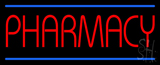 Red Pharmacy Blue Lines LED Neon Sign