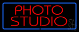 Red Photo Studio Blue Border LED Neon Sign