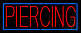 Red Piercing Blue Border Neon Sign
