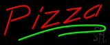 Pizza with Green Line Neon Sign
