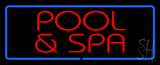 Red Pool and Spa Blue Border LED Neon Sign