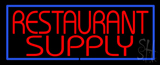 Red Restaurant Supply with Blue Border LED Neon Sign