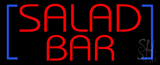 Red Salad Bar with Blue Brackets LED Neon Sign