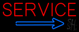 Red Service Blue Arrow Neon Sign