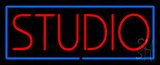 Red Studio Blue Border Neon Sign