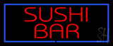 Red Sushi Bar with Blue Border LED Neon Sign