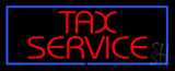 Red Tax Service Blue Border LED Neon Sign