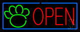 Open Pet Paw Blue Border LED Neon Sign