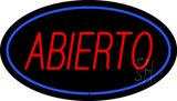Abierto Oval Blue LED Neon Sign