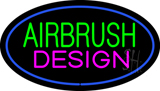 Green Airbrush Design Pink Oval Blue LED Neon Sign