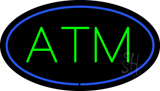 Oval ATM Blue Border LED Neon Sign