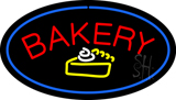 Bakery Logo Oval Blue LED Neon Sign
