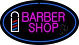 Pink Barber Shop Oval Logo LED Neon Sign