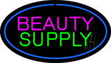 Oval Pink Beauty Green Supply Blue Border LED Neon Sign
