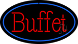 Red Buffet Oval Blue LED Neon Sign