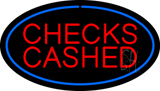Oval Blue Checks Cashed LED Neon Sign