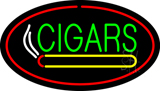 Green Cigars Logo Red Oval LED Neon Sign