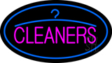 Pink Cleaners Oval Blue Logo Neon Sign