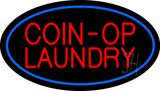 Coin-Op Laundry Oval Blue Neon Sign