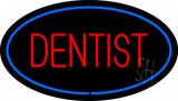 Red Dentist Oval Blue Border LED Neon Sign