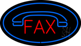 Fax Oval Blue with Logo  LED Neon Sign