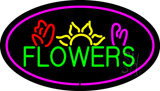 Oval Green Flowers Logo with Pink Border LED Neon Sign