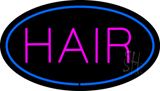 Pink Hair Oval Blue LED Neon Sign