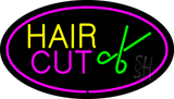 Hair Cut Logo Oval Pink LED Neon Sign