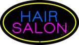 Hair Salon Oval Yellow LED Neon Sign