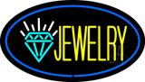 Jewelry Logo Oval Blue LED Neon Sign