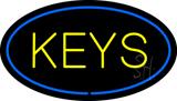 Keys Oval Blue LED Neon Sign